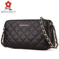 梦特娇MONTAGUT2016新款时尚女包牛皮小香风菱格时尚链条包真皮单肩包手提包