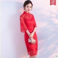 旗袍敬酒服新娘  红色中国风中式礼服女结婚连衣裙短款