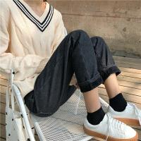 韩国秋冬新款百搭显瘦加绒加厚牛仔裤女韩版宽松高腰黑色直筒长裤 黑色 加绒