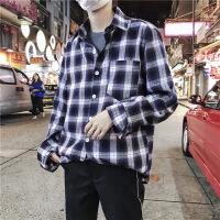 秋季新款格子衬衫男长袖做旧学生日系ins宽松衬衣男打底衫小清新