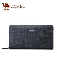 Camel骆驼男包新款男士真皮手拿包时尚格纹牛皮手包大容量