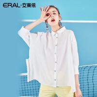 ERAL/艾莱依女装2018夏装新款Polo领衬衫韩版长袖荷叶边衬衣女潮667C033021