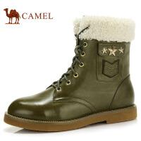 camel骆驼 牛皮时尚短靴 方跟侧拉链简约潮流时装靴