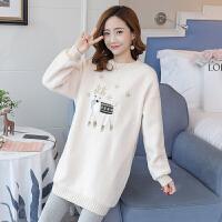 时尚加绒加厚刺绣哺乳连衣裙两件套装2019新款韩版孕妇秋冬装卫衣