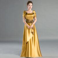 新款礼服一字包肩合唱裙演出服主持新娘结婚敬酒显瘦长款晚礼服