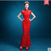 红色新娘敬酒服旗袍 新款 中式结婚礼服长款修身鱼尾短款