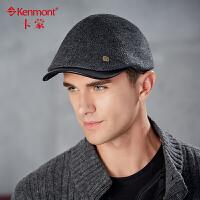 kenmont鸭舌帽男士帽子秋冬时尚贝雷帽 男 韩版潮毛呢鸭嘴帽英伦帽前进帽1476