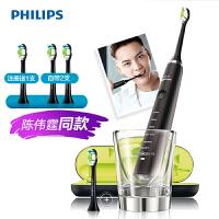 飞利浦 (PHILIPS) 电动牙刷 成人声波震动钻石系列(自带刷头*2+充电旅行盒+充电玻璃杯) 黑钻HX9352/