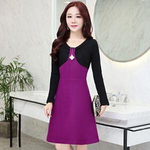 毛呢时尚连衣裙韩版新款拼接修身打底裙子气质显瘦A字裙女