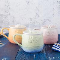 创意陶瓷马克杯子带盖办公室咖啡杯个性情侣杯海的声音渐变早餐杯