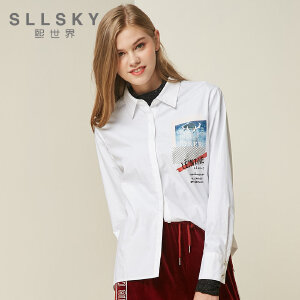 熙世界白色印花衬衫女2018秋装新款通勤简约长袖衬衣上衣11DLC053