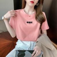 千喜步步高2021春夏新款宽松百搭气质字母刺绣圆领短袖T恤