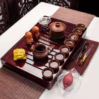 功夫茶具套装家用整套简约实木茶盘茶壶全紫紫砂茶博士盖碗套装