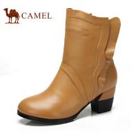 camel骆驼 中筒靴 女 冬季新品 牛皮休闲舒适女靴 81553614