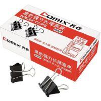齐心 B3607 32mm盒装 黑色强力长尾 夹燕尾夹 票据夹子3# 145页
