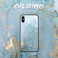 蓝色烫金大理石苹果8手机壳iphone8plus新款x玻璃7简约ins风xs max个性创意6plus简约文艺xr硬壳