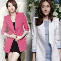 新女士外套春秋新品韩版女装时尚潮流玫红大码小西装修身潮款西装外套女 白色