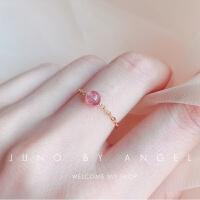 天然草莓水晶月光石戒指女清新转运珠食指饰品不掉色招桃花时尚韩