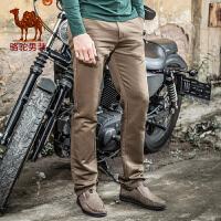 骆驼牌男装春 秋季男士纯色商务休闲长裤子直筒休闲裤