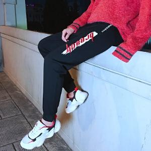 青少年港风新款修身束脚男士韩版休闲裤青年运动裤子哈伦长裤9