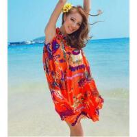 波西米亚大码显瘦款海边度假沙滩裙长裙连衣裙雪纺送腰带 支持礼品卡