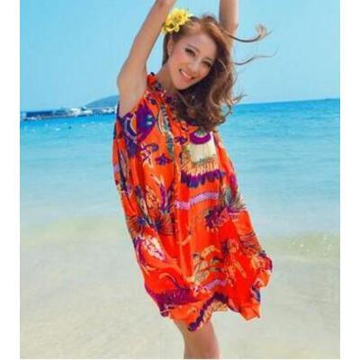 波西米亚大码显瘦款海边度假沙滩裙长裙连衣裙雪纺送腰带    支持礼品卡 品质保证 售后无忧 支持货到付款