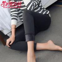 白领公社 牛仔裤 女士新款高腰黑色加绒小脚裤女式加厚大码铅笔长时尚裤子