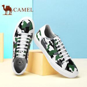 camel骆驼男鞋 新款 潮流时尚迷彩水染牛皮板鞋男