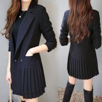 2018韩国新品春秋中长款百褶修身黑色小西装外套女士长袖休闲西服 黑色
