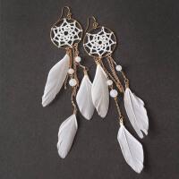 白色羽毛耳环超仙耳夹无耳洞长款925纯银耳钉婚波西米亚度假