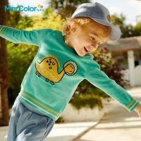 马卡乐童装2021春季新款男童全棉恐龙图案长袖套头毛衫