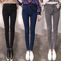 牛仔裤女烟灰高腰长裤子女韩版铅笔裤九分裤紧身显瘦学生小脚裤潮
