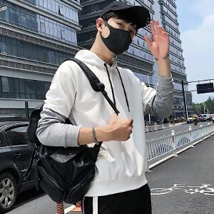 2018新款连帽男青年潮爆港风连帽休闲日系圆领卫衣