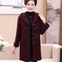 中年 秋天的外套中老年女装时尚秋冬装毛呢外套40-50-60岁妈妈中长款加厚呢子 图片色