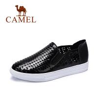 Camel/骆驼女鞋 时尚休闲 镂空透视套脚圆头平底单鞋