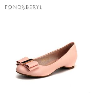 【3折到手价122.7元】菲伯丽尔(Fondberyl)女鞋 羊皮革蝴蝶结方跟圆头甜美单鞋FB51111131 粉红 37