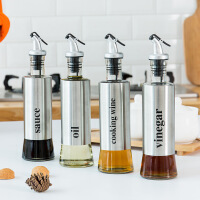 家用厨房玻璃油壶 创意不锈钢调味瓶防漏酱油瓶厨房调料套装