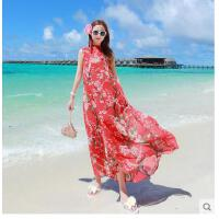 复古沙滩裙长裙民族风国旅游服饰连衣裙海边度假显瘦大裙摆雪纺泰 可礼品卡支付