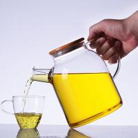 北斗正明大茶壶过滤泡茶壶玻璃加厚加热花茶壶耐高温竹盖壶茶具1800ML