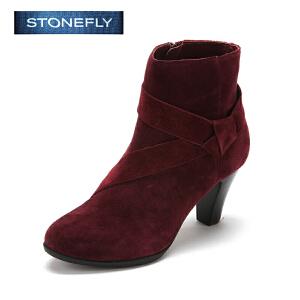 【3折到手价140.7元】STONEFLY/斯通富来冬季牛皮圆头中跟时尚休闲侧拉链短靴女士冬靴SD44113211