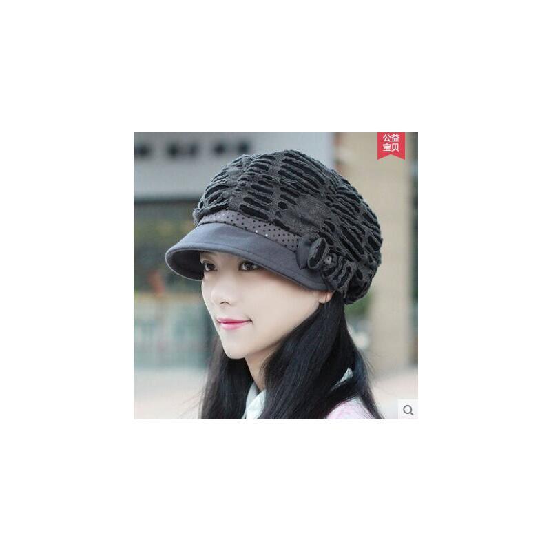 帽子女士时尚简约贝雷帽蝴蝶结鸭舌帽 户外新款潮时尚时装帽韩版休闲 品质保证 售后无忧  支持货到付款