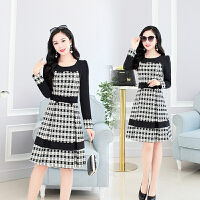新款韩版连衣裙长袖格子修身显瘦时尚气质A字裙