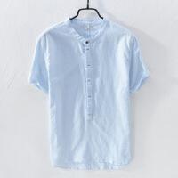 衬衫男学生日系棉麻纯色衬衫秋季男士长袖韩版白色休闲宽松青年文艺亚麻衬衣