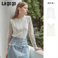 Lgogo/拉谷谷2019秋新款花边蕾丝镂空针织衫两件套女ICMM997A21