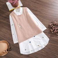 秋冬季洋气大码背心裙两件套可爱孕妇装秋款套装背心无袖毛衣