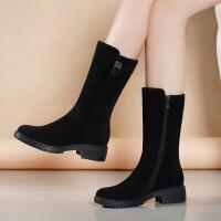 金特秋冬靴子女加绒中筒靴平底马丁靴粗跟保暖磨砂女靴