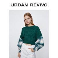UR2020冬季新品女装复古学院风格纹拼接毛衣针织衫WH37S9BN2007