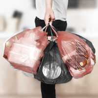 加厚垃圾袋家用一次性黑色大��帱c式卷�b�N房清��袋背心式塑料袋