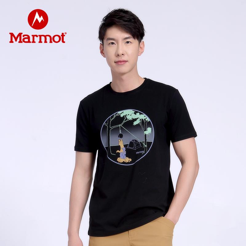 Marmot/土拨鼠春夏新款户外运动休闲棉质吸汗男士弹力透气舒适短袖T恤 VIP专享96折