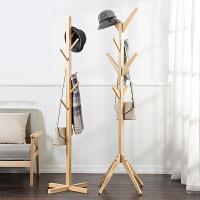 简易实木质落地衣帽架 客厅卧室挂衣架收纳架包邮特价